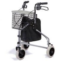 Delta rollator. Deze 3-wiel rollator wordt geleverd met dienblad, tas en boodschappenmand.