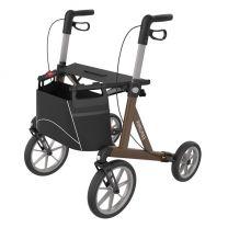Rollator Rehasense Explorer met ruime zit en geschikt voor rijden over oneffen paden, stoepen en terreinen