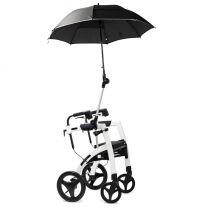 Rollator paraplu beschermd tegen zon, regen en wind.